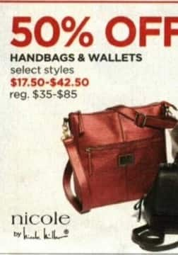 JCPenney Cyber Monday: Nicole by Nicole Miller Handbags and Wallets, Select Styles - 50% Off