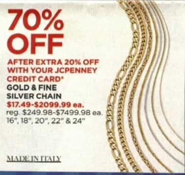 JCPenney Cyber Monday: Made In Italy Gold and Fine Silver Chain w/ JCPenney Credit Card - 70% Off