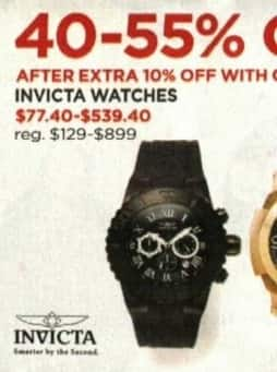 JCPenney Cyber Monday: Invicta Watches - 40 - 55% Off