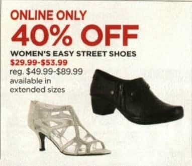 JCPenney Cyber Monday: Easy Street Women's Shoes - 40% Off