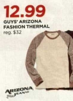 JCPenney Cyber Monday: Arizona Men's Fashion Thermal for $12.99