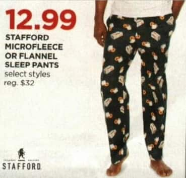 JCPenney Cyber Monday: Stafford Men's Microfleece or Flannel Sleep Pants, Select Styles for $12.99