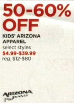 JCPenney Cyber Monday: Arizona Kids' Apparel, Select Styles - 50 - 60% Off