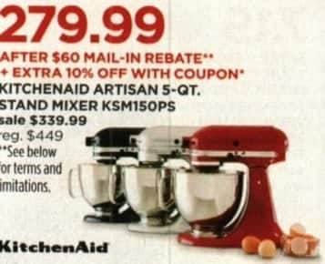 JCPenney Cyber Monday: Kitchenaid Artisan 5-Qt. KSM150PS ...