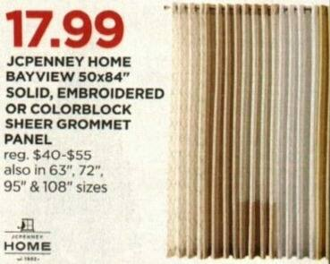 JCPenney Cyber Monday: JCPenney Home Bayview 50x84 Sheer Grommet Panel, Embroidered or Colorblock Styles for $17.99
