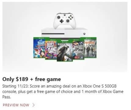 Microsoft Store Black Friday: Xbox One S 500GB Console + Free Game of Choice + 1 Month Xbox Game Pass for $189.00