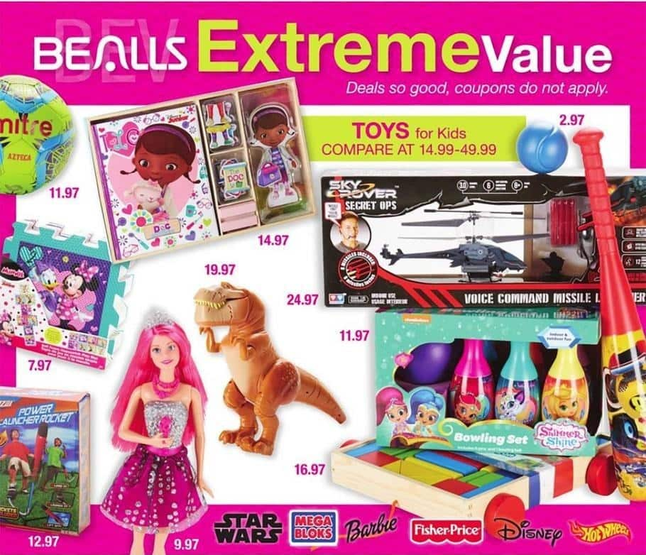 Bealls Florida Black Friday: Kids' Toys from Star Wars, Mega BLoks, Barbie, Fisher-Price, Disney, Hot Wheels and More for $2.97 - $24.97