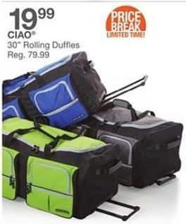 "Bealls Florida Black Friday: CIAO 30"" Rolling Duffles for $19.99"