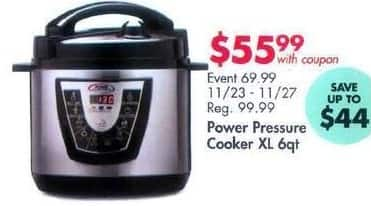 Bed Bath & Beyond Black Friday: Power Pressure Cooker XL 6 Qt. for $55.99