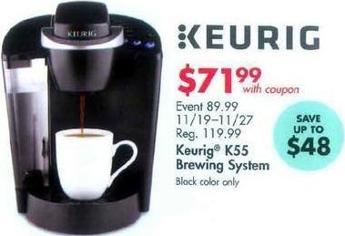 Bed Bath & Beyond Black Friday: Keurig K55 Brewing System for $71.99