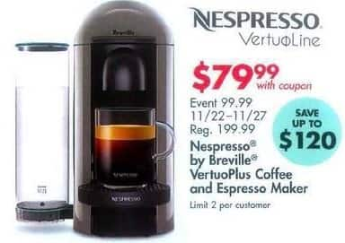 Bed Bath & Beyond Black Friday: Nespresso by Breville VertuoPlus Cofee and Espress Maker for $79.99