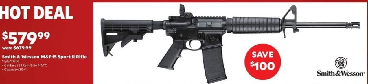 Academy Sports + Outdoors Black Friday: Smith & Wesson M&P15 Sport II Rifle in .223 Rem/5.56 NATO for $579.99