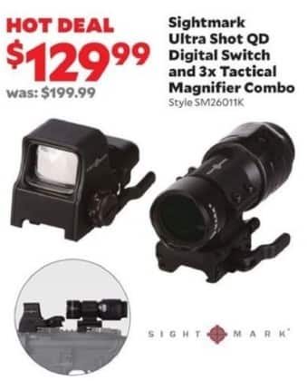 Academy Sports + Outdoors Black Friday: Sightmark Ultra Shot QD Digital Switch with 3x Tactical Magnifier for $129.99