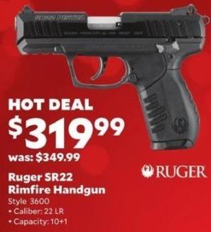 Academy Sports + Outdoors Black Friday: Ruger SR22 .22LR Rimfire Handgun for $319.99