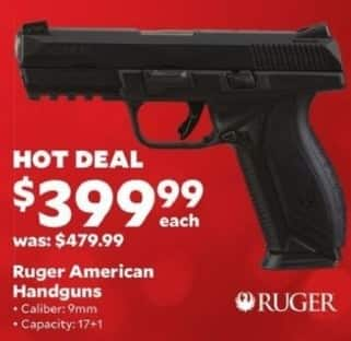 Academy Sports + Outdoors Black Friday: Ruger American 9mm Handgun for $399.99