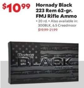 Academy Sports + Outdoors Black Friday: Hornady Black .223 Rem 62-gr. FMJ Rifle Ammo, 20 rd. for $10.99