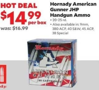 Academy Sports + Outdoors Black Friday: Hornady American Gunner JHP Handgun Ammo, 20 - 25 rd., 9mm, .380 ACP, .40 S&W, .45 ACP, and .38 Special Calibers for $14.99