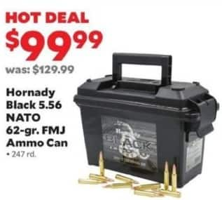 Academy Sports + Outdoors Black Friday: Hornady Black 5.56 Nato 62-gr. FMJ Ammo Can, 247 rd. for $99.99