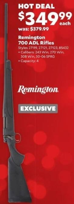 Academy Sports + Outdoors Black Friday: Remington 700 ADL Rifle in .243 Win, .270 Win, .308 Win, and .30-06 SPRG Calibers for $349.99
