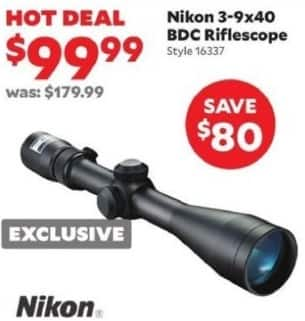 Academy Sports + Outdoors Black Friday: Nikon 3-9x4 BDC Riflescope for $99.99