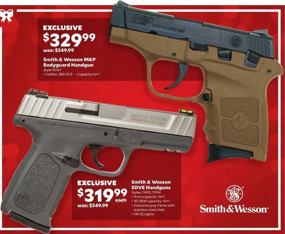 Academy Sports + Outdoors Black Friday: Smith & Wesson SDVE Handgun in 9mm and .40 S&W Calibers for $319.99