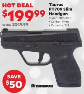 Academy Sports + Outdoors Black Friday: Taurus PT709 Slim 9mm Handgun for $199.99