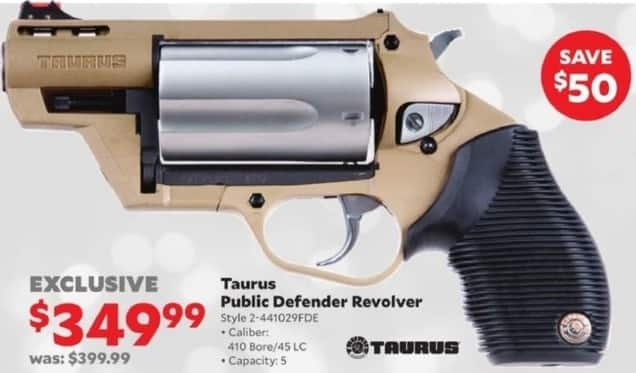 Academy Sports + Outdoors Black Friday: Taurus Public Defender .410 Bore/.45 LC Revolver for $349.99