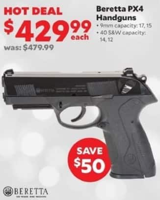 Academy Sports + Outdoors Black Friday: Beretta PX4 Handgun in 9mm and .40 S&W Calibers for $429.99