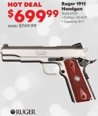 Academy Sports + Outdoors Black Friday: Ruger 1911 .45 ACP Handgun for $699.99