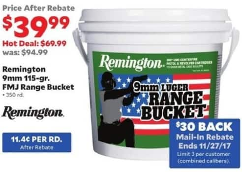 Academy Sports + Outdoors Black Friday: Remington 9mm 115-gr. FMJ Range Bucket, 350 rd. for $39.99 after $30 rebate