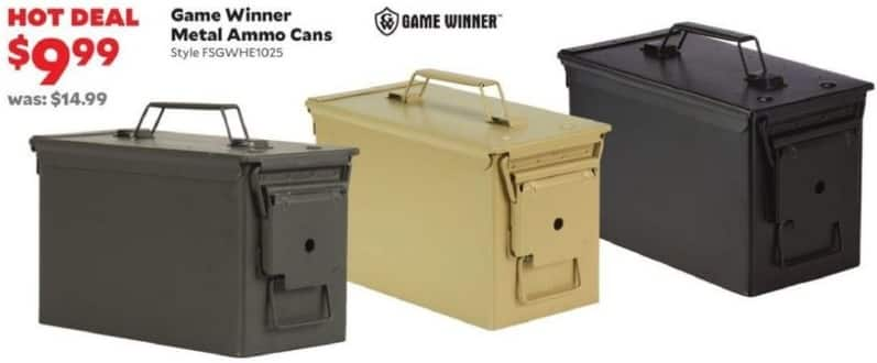 Academy Sports + Outdoors Black Friday: Game Winner Metal Ammo Cans for $9.99