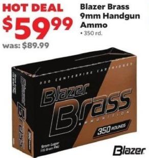 Academy Sports + Outdoors Black Friday: Blazer Brass 9mm Handgun Ammo, 350 rd. for $59.99
