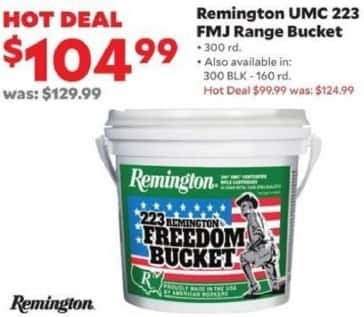 Academy Sports + Outdoors Black Friday: Remington UMC .223 FMJ Range Bucket, 300 rd. for $104.99