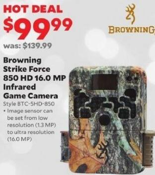 Academy Sports + Outdoors Black Friday: Browning Strike Force 850 HD 16.0 MP Infrared Game Camera for $99.99