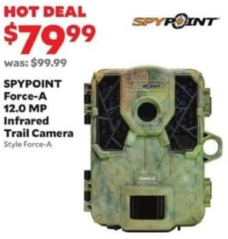 Academy Sports + Outdoors Black Friday: Spypoint Force-A 12.0 MP Infrared Trail Camera for $79.99