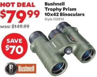 Academy Sports + Outdoors Black Friday: Bushnell Trophy Prism 10x42 Binoculars for $79.99