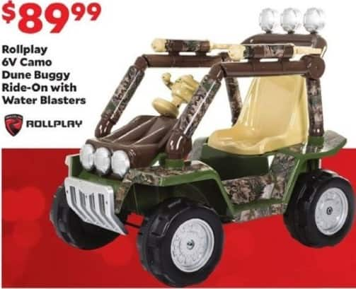 Academy Sports + Outdoors Black Friday: Rollplay 6V Camo Dune Buggy Ride-On with Water Blasters for $89.99