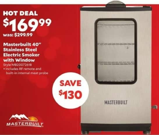 "Academy Sports + Outdoors Black Friday: Masterbuilt 40"" Stainless Electric Smoker with Window for $169.99"