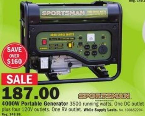 Mills Fleet Farm Black Friday: Sportsman 4000W Portable Generator for $187.00