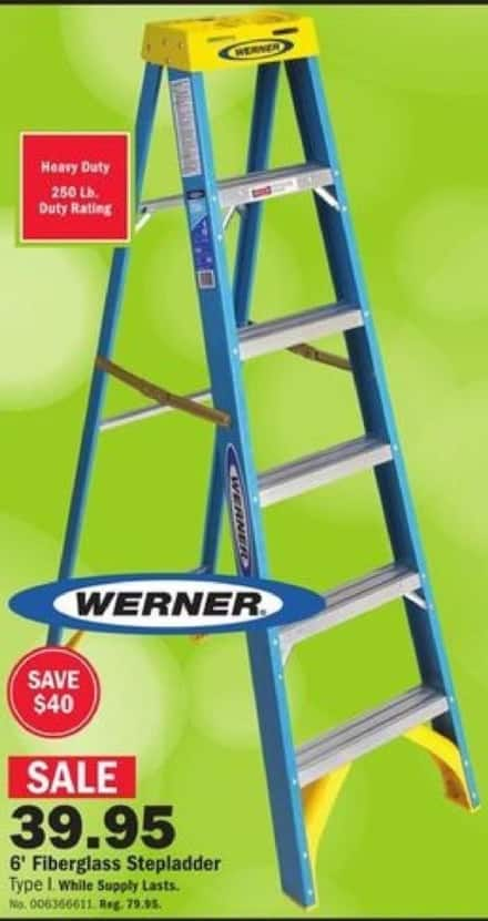 Mills Fleet Farm Black Friday: Werner 6' Fiberglass Stepladder for $39.95