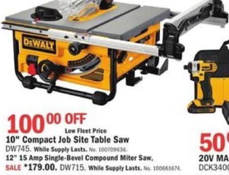 """Mills Fleet Farm Black Friday: DeWalt DW715 10"""" Compact Job Site Table Saw for $179.00"""