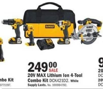 Mills Fleet Farm Black Friday: DeWalt DCK421D2 20V MAX Lithium Ion 4-Tool Combo Kit for $249.00
