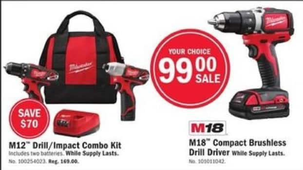 Mills Fleet Farm Black Friday: Milwaukee M18 Compact Brushless Drill Driver for $99.00
