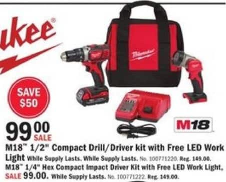 "Mills Fleet Farm Black Friday: Milwaukee M18 1/2"" Compact Drill/Driver Kit w/ Free LED Work Light for $99.00"