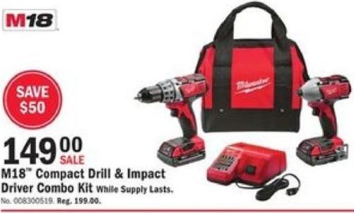 Mills Fleet Farm Black Friday: Milwaukee M18 Compact Drill & Impact Driver Combo Kit for $149.00