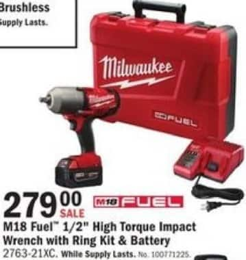 "Mills Fleet Farm Black Friday: Milwaukee M18 Fuel 1/2"" High Torque Impact Wrench with Ring Kit & Battery for $279.00"