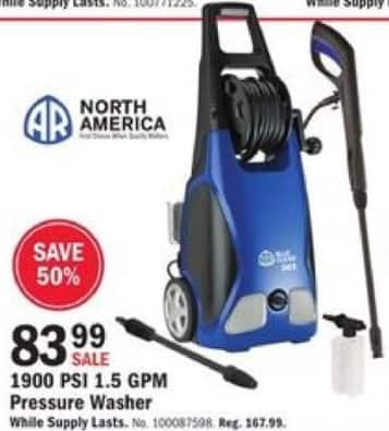Mills Fleet Farm Black Friday: North America 1900PSI 1.5 GPM Pressure Washer for $83.99