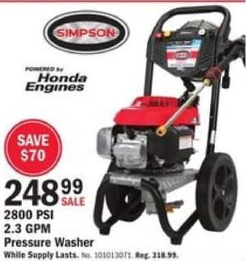 Mills Fleet Farm Black Friday: Simpson 2800 PSI 2.3 GPM Pressure Washer for $248.99