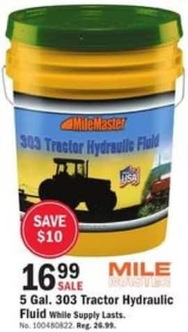 Mills Fleet Farm Black Friday: Mile 5 Gal. 303 Tractor Hydraulic Fluid for $16.99