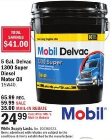Mills Fleet Farm Black Friday: Mobil 5 Gal. Delvac 1300 Super Diesel 15W40 Motor Oil for $24.99 after $35 rebate